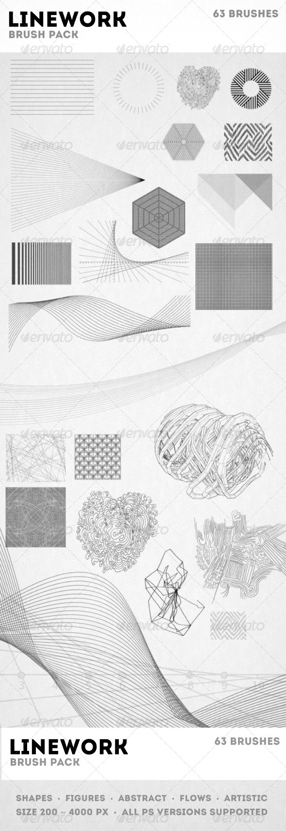 GraphicRiver Linework Brushes Pack 7623328