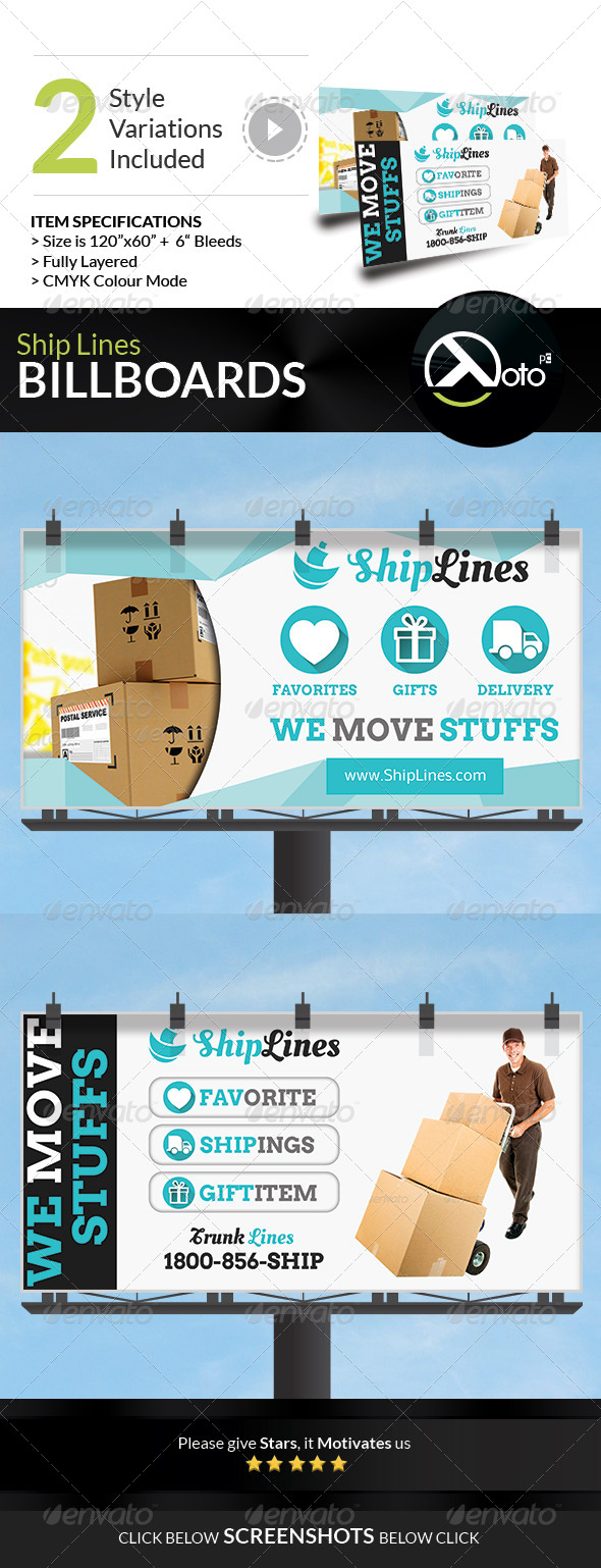 Ship Lines Shipping Service Billboard - Signage Print Templates