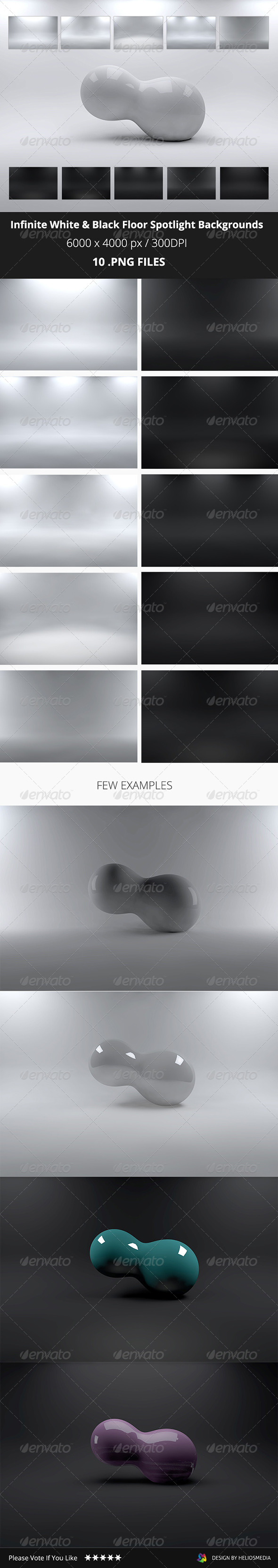 GraphicRiver Infinite White & Black Floor Spotlight Backgrounds 7614163