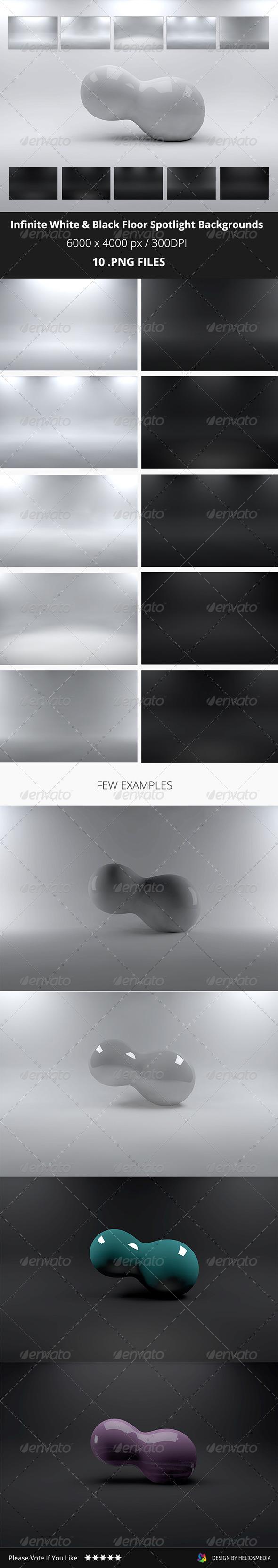 Infinite White & Black Floor Spotlight Backgrounds