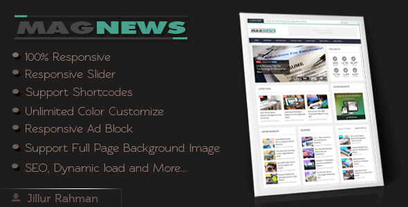 ThemeForest MagNews Responsive Magazine Blogger Template 7591951