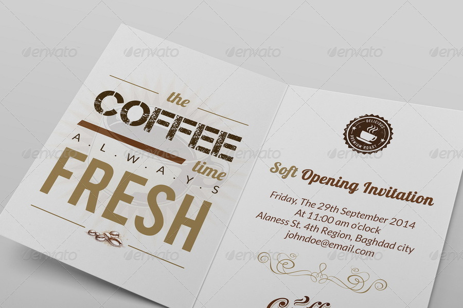 Cafe Soft Opening Invitation Card Vol.3 by OWPictures | GraphicRiver