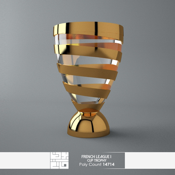3DOcean French League 1 Cup Trophy 3D Model 7627296
