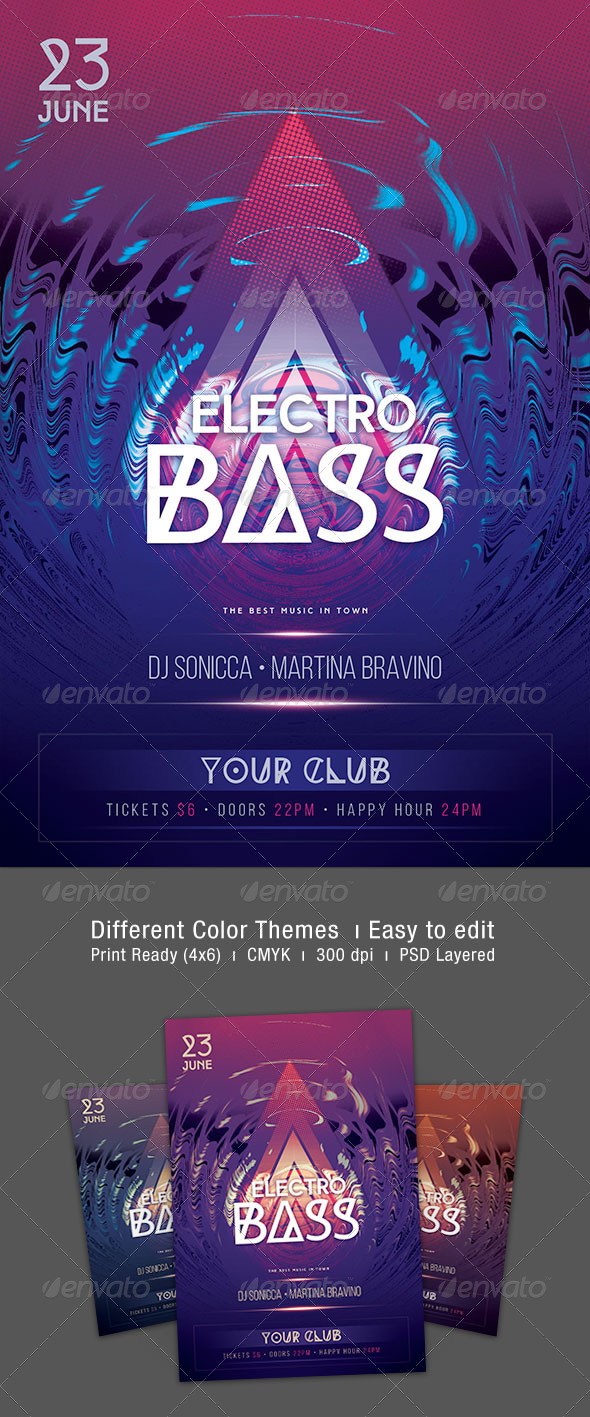 GraphicRiver Electro Bass Flyer 7627453