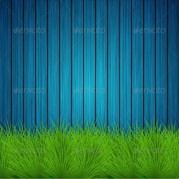 GraphicRiver Creative Grass on Wooden Background 7628117
