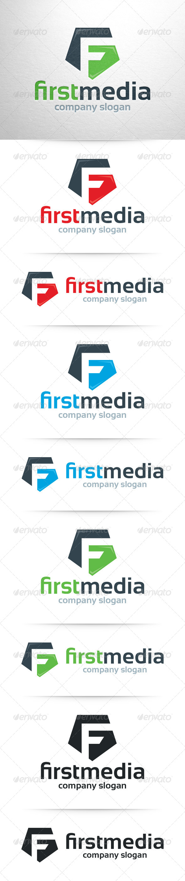 GraphicRiver First Media Letter F Logo 7628489