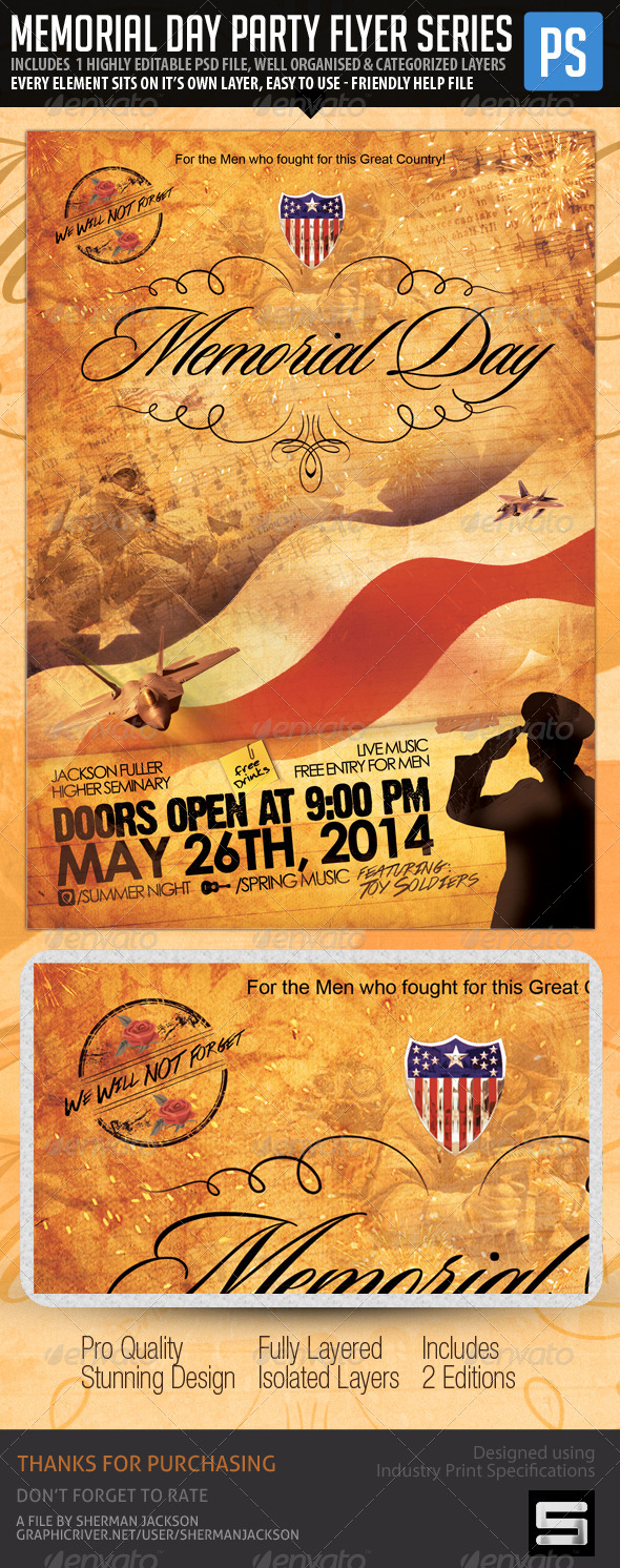 GraphicRiver Memorial Day Flyer We will Never Forget 7628601