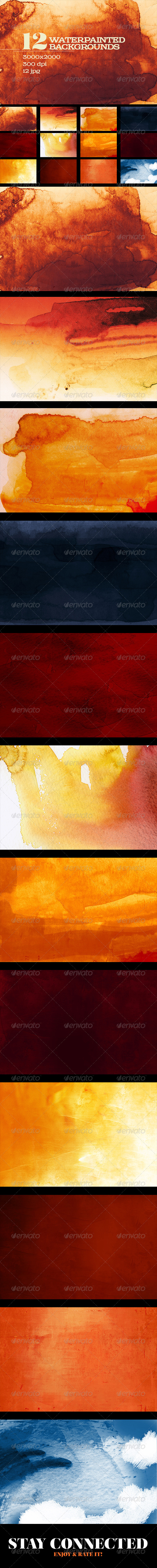 GraphicRiver 12 Painted Watercolor Backgrounds 7629830
