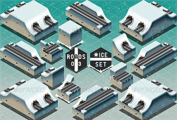 GraphicRiver Isometric Galleries and Tunnels on Frozen Terrain 7629888