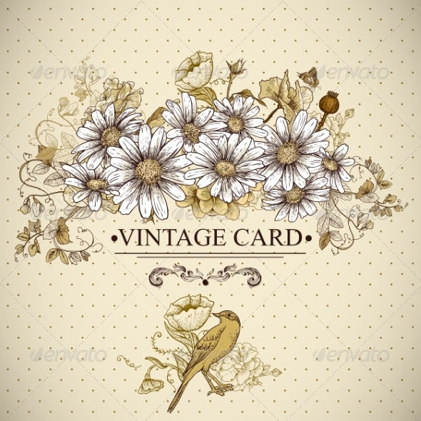 GraphicRiver Vintage Floral Card with Birds and Daisies 7629989