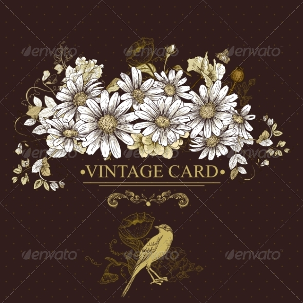 GraphicRiver Vintage Floral Card with Birds and Daisies 7630010