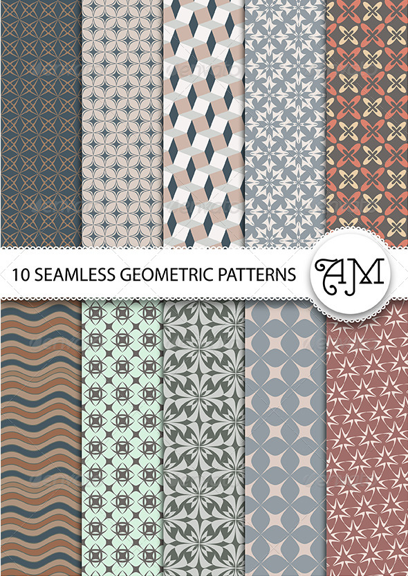 GraphicRiver 10 Seamless Geometric Patterns 7590945