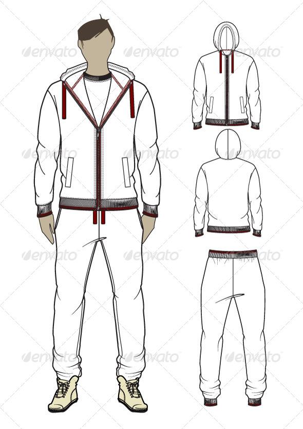 GraphicRiver Men s Zip-Through Hoodie and Sweatpants 7591817