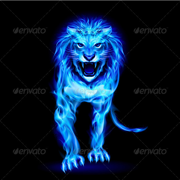 GraphicRiver Blue Fire Lion 7630597