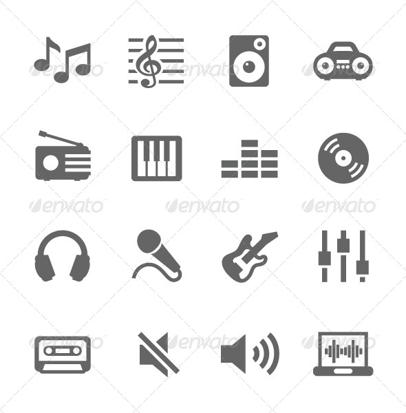 GraphicRiver Music Icons Set 7630691
