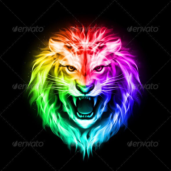 Colorful Lion Head of Colorful Fire Lion