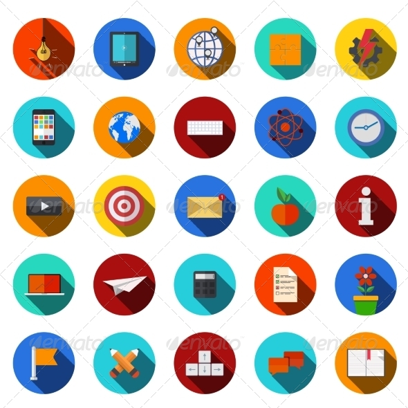 GraphicRiver Flat Modern Icons Set 7630935
