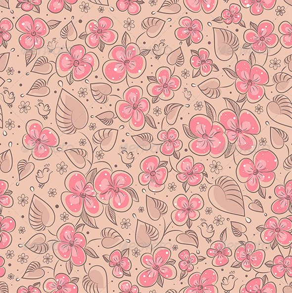 GraphicRiver Seamless Floral Pattern Flowers Texture 7631177