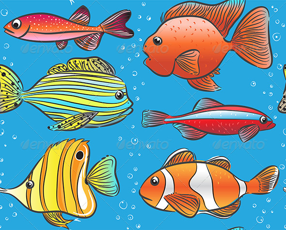 Background with Color Fishes