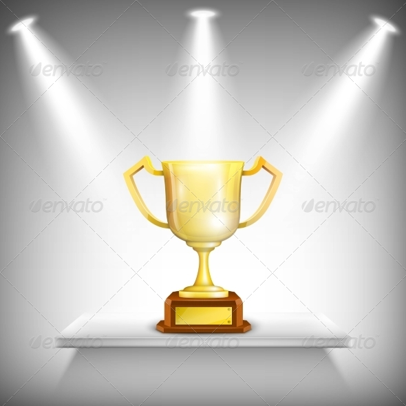 GraphicRiver Shelf with Golden Trophy Cup 7631449