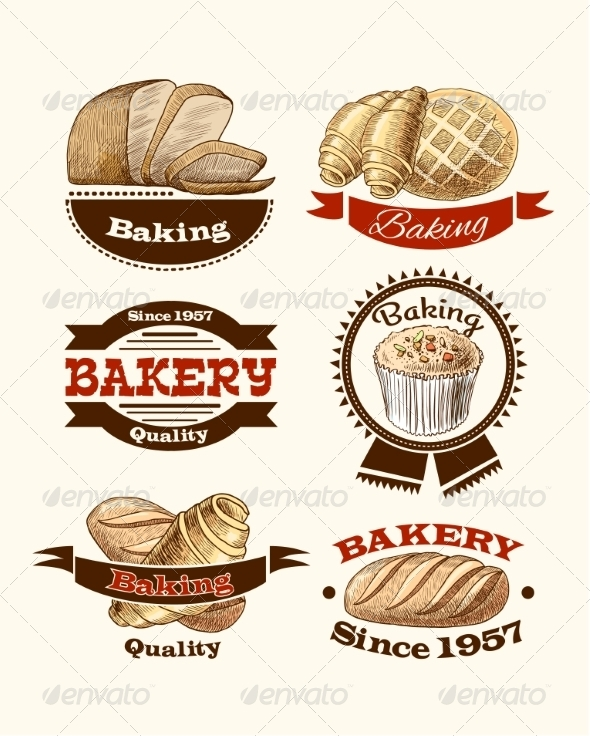GraphicRiver Pastry and Bread Labels 7631607