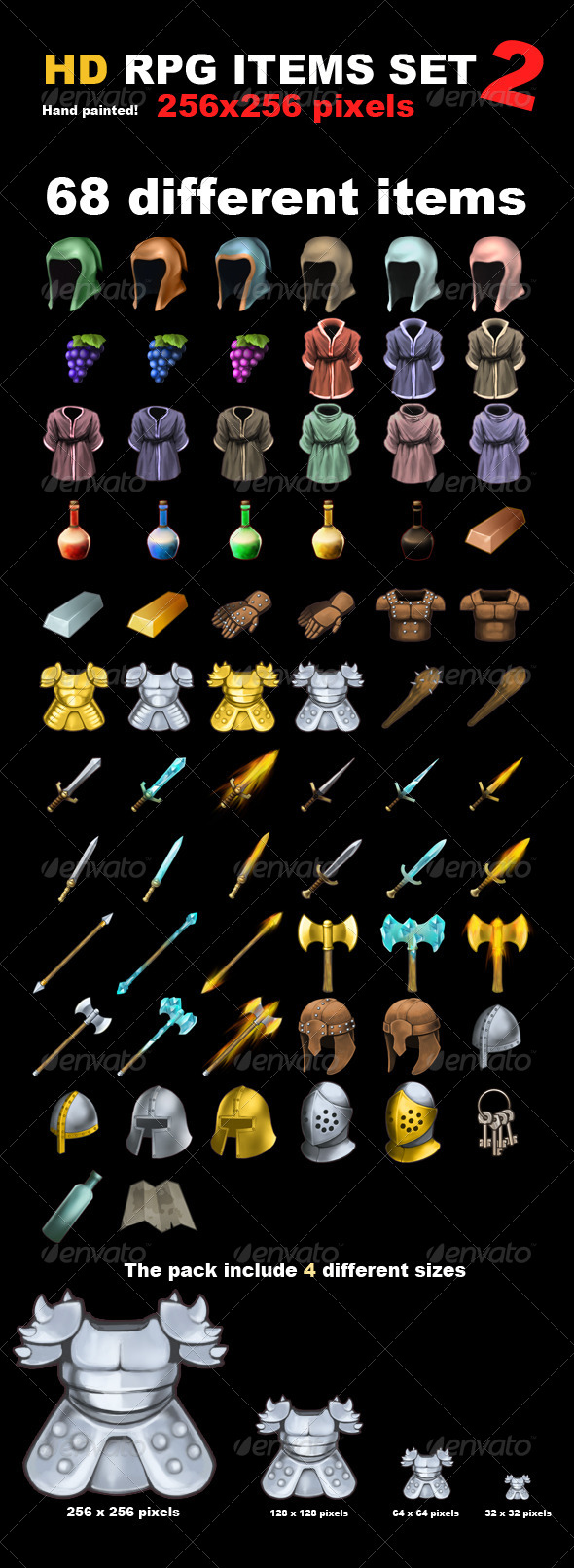 GraphicRiver 68 HD RPG Items 7631609