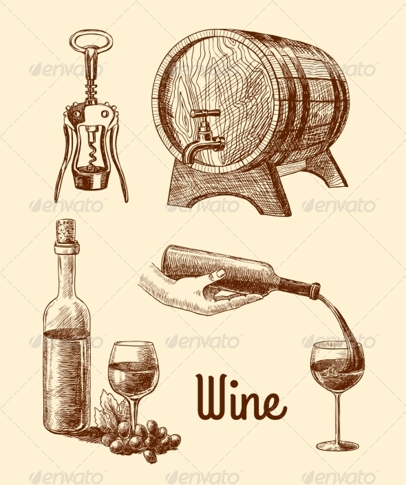 GraphicRiver Wine Sketch Decorative Set 7631610