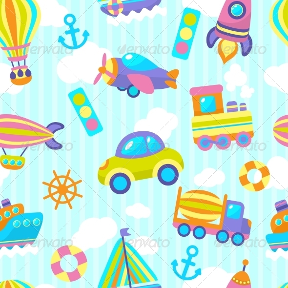 GraphicRiver Transport Toy Seamless Pattern 7631618