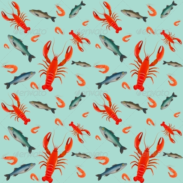 GraphicRiver Lobster Seamless Pattern 7631727