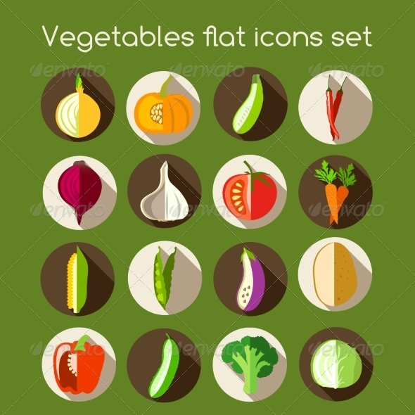 GraphicRiver Vegetables Flat Icons 7631728