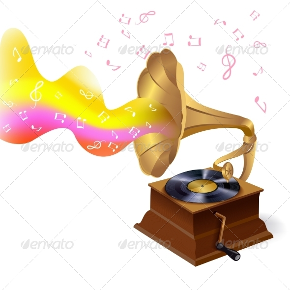 GraphicRiver Music Background with Gramophone 7631765