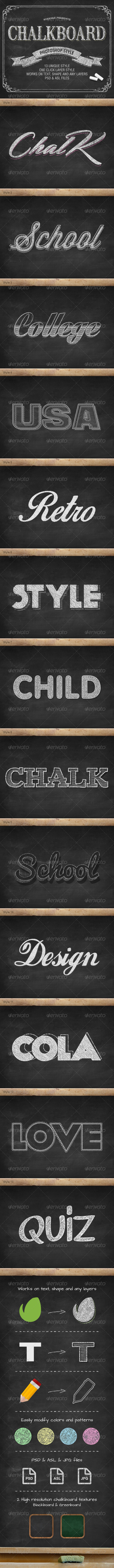 Chalkboard Photoshop PSD Layer Styles - Text Effects Styles