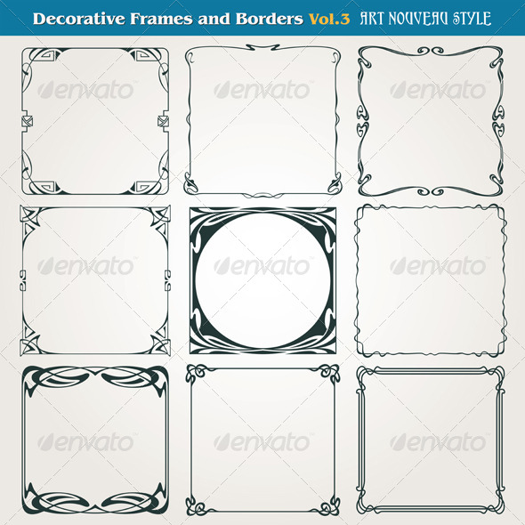 GraphicRiver Decorative Frames and Borders Art Nouveau 7632021