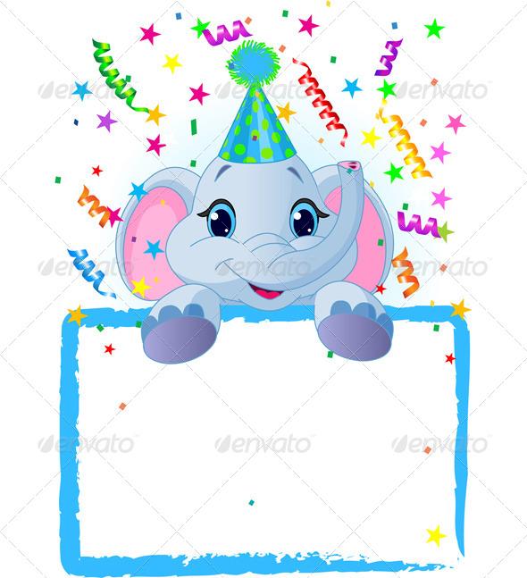 GraphicRiver Baby Elephant Birthday 7632174