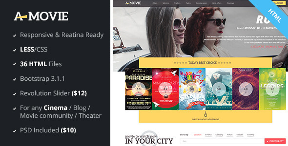 ThemeForest A.Movie Cinema Movie HTML LESS Template 7632428