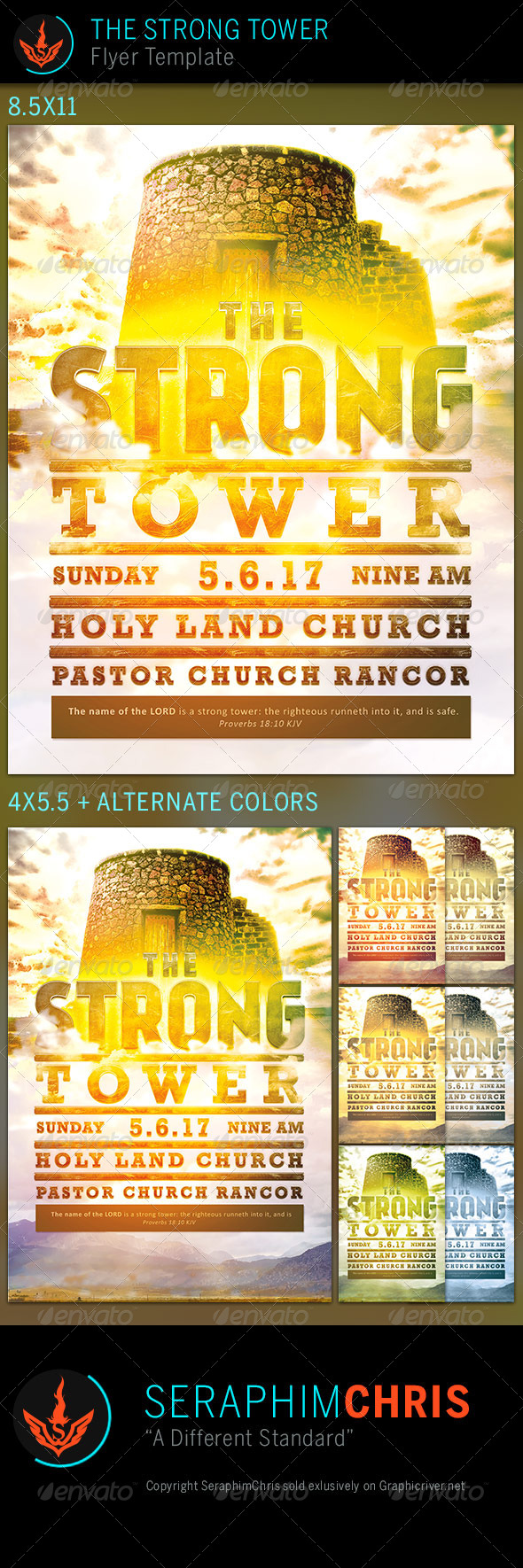 GraphicRiver The Strong Tower Church Flyer Template 7619054