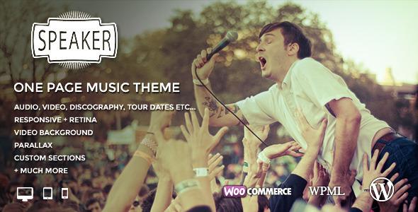 ThemeForest Speaker One Page Music Wordpress Theme 7633220