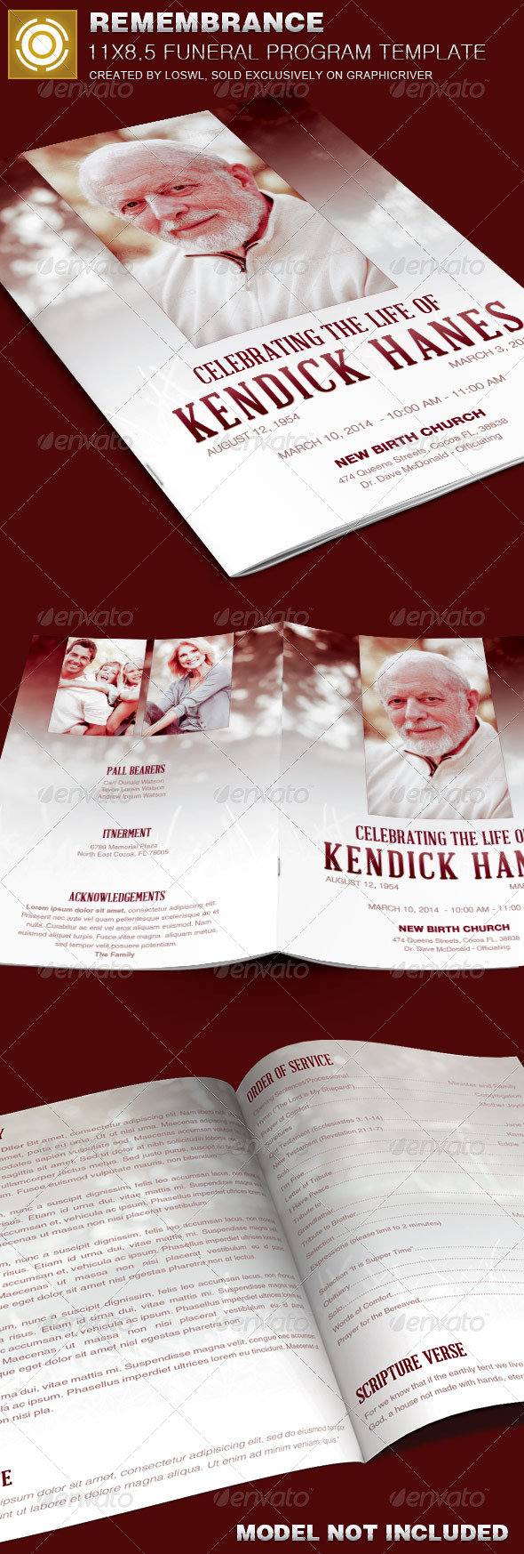 GraphicRiver In Remembrance Funeral Program Template 7633262