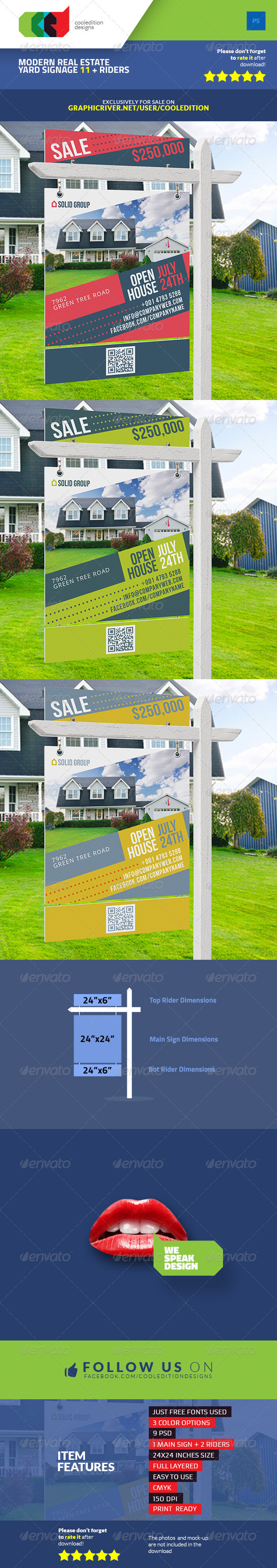 GraphicRiver Modern Real Estate Yard Signage 11 & Riders 7634064