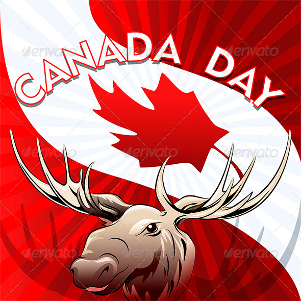 GraphicRiver Canada Day Card with Moose 7634341