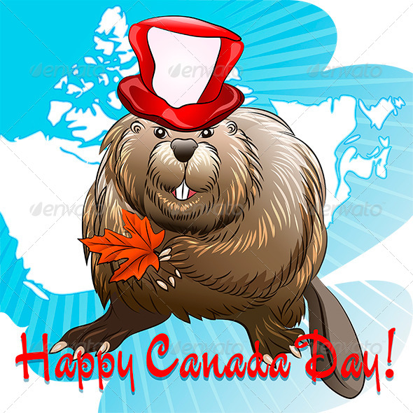 GraphicRiver Canada Day with Beaver 7634369