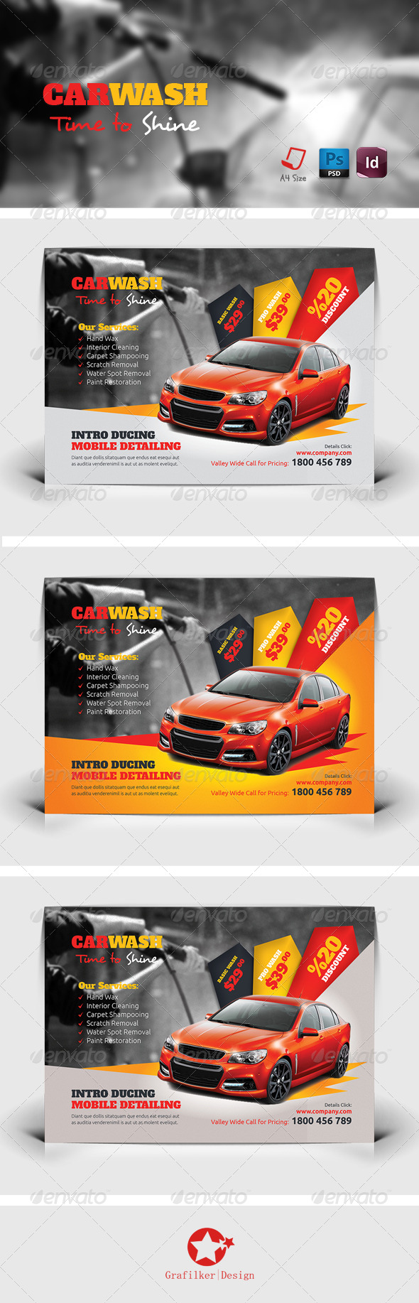 GraphicRiver Car Wash Flyer Templates 7634404