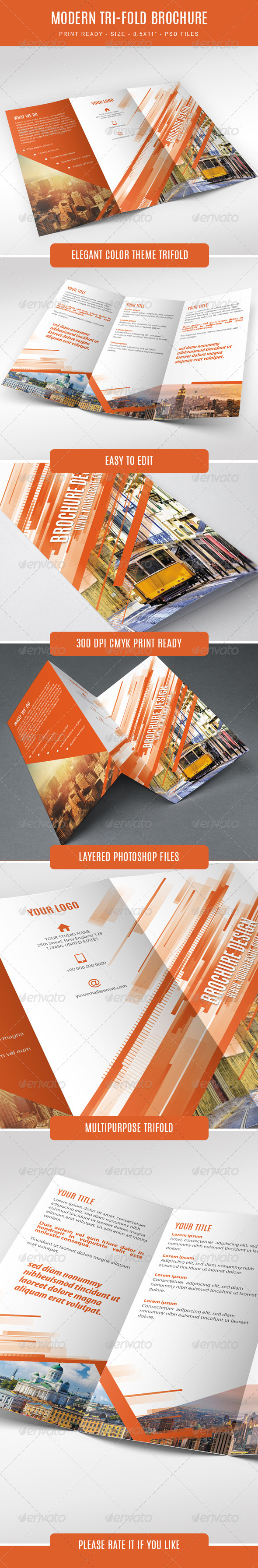 GraphicRiver Modern Trifold Brochure 7634542