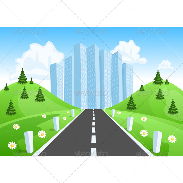 GraphicRiver Road Through the Countryside into the City 7634580