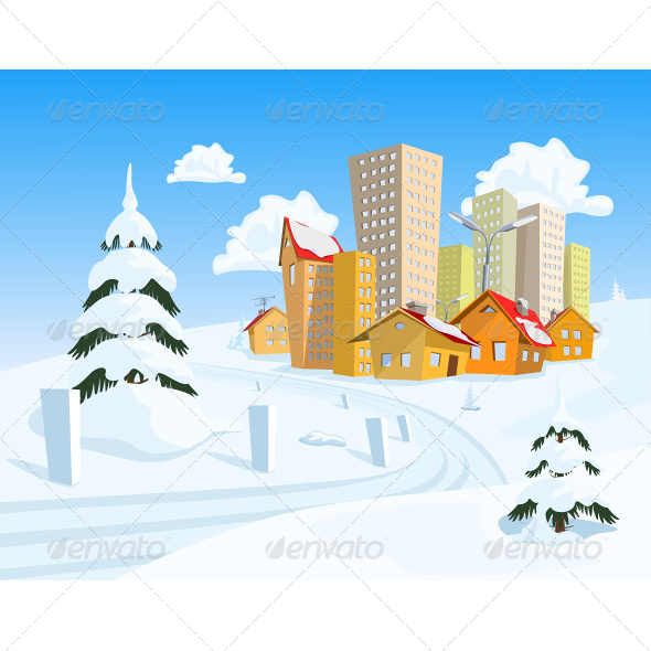 GraphicRiver Cartoon Town with Snowy Road 7634627