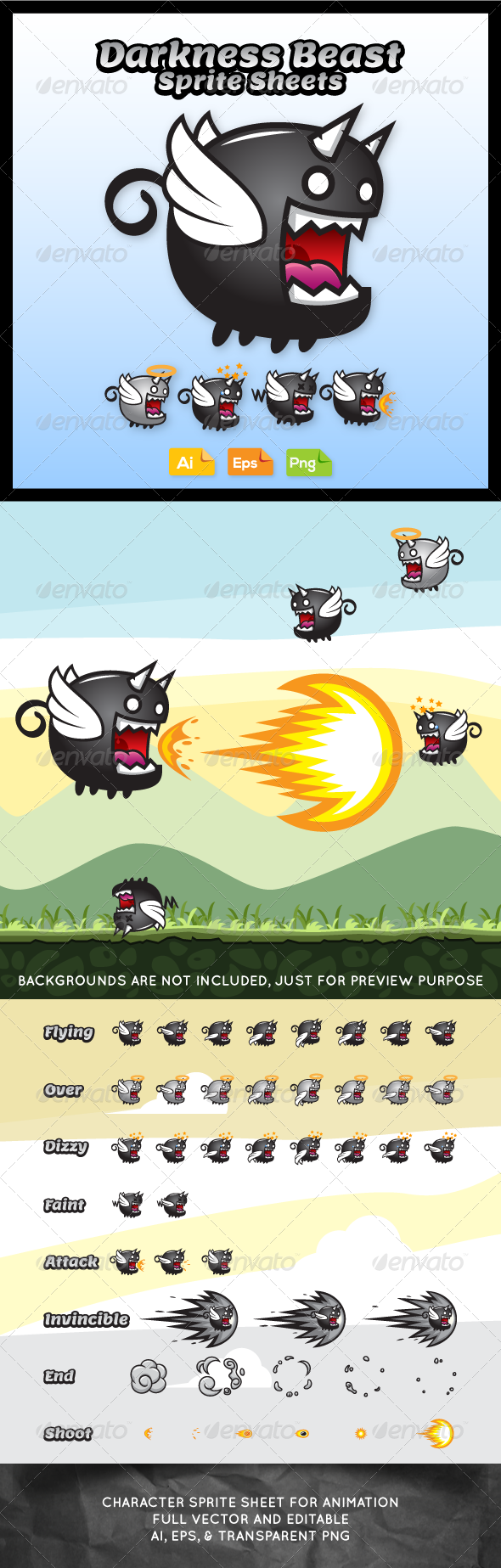 GraphicRiver Game Character Darkness Beast Sprite Sheets 7634796