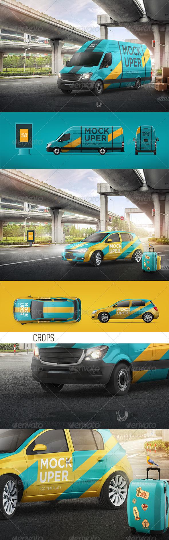 GraphicRiver Van & Car Mock-Ups 2 PSD 7636854