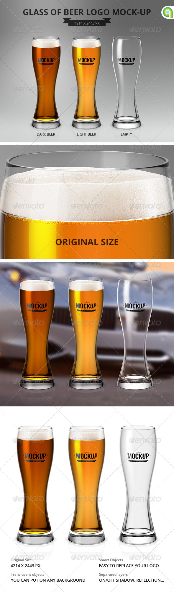 GraphicRiver Glass of Beer Logo Mock-Up 7636861