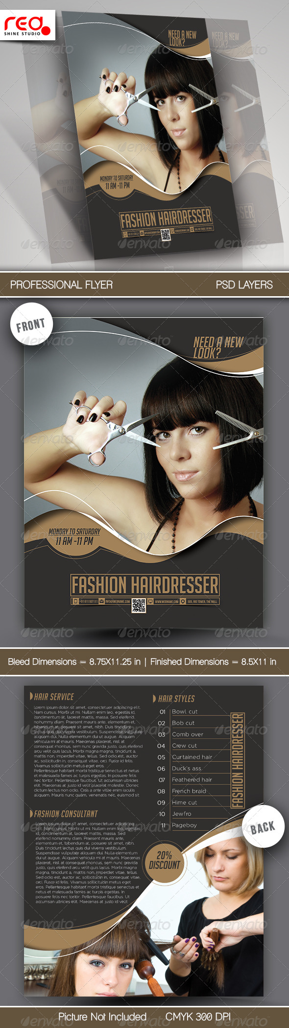 GraphicRiver Fashion Hairdresser Flyer & Poster Template 7636905