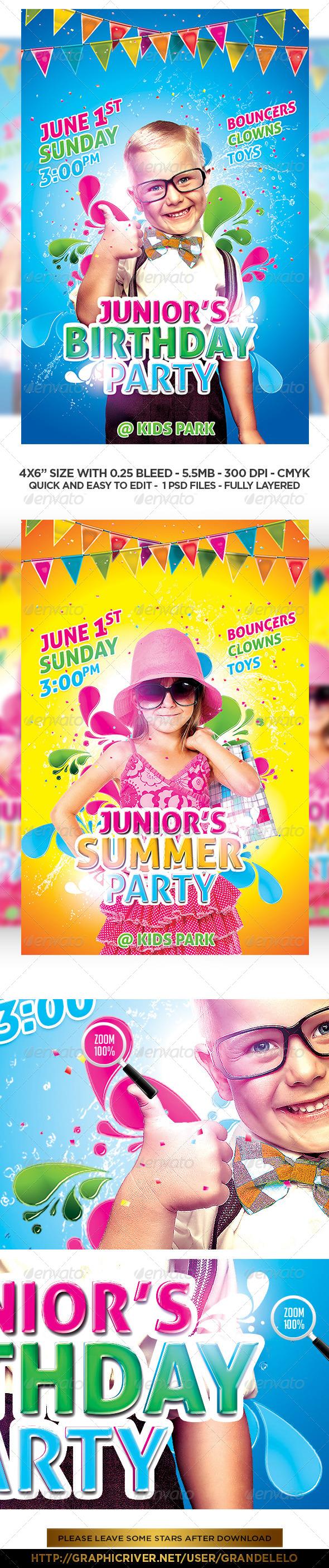 GraphicRiver Kids Birthday & Summer Flyer Template 7636909